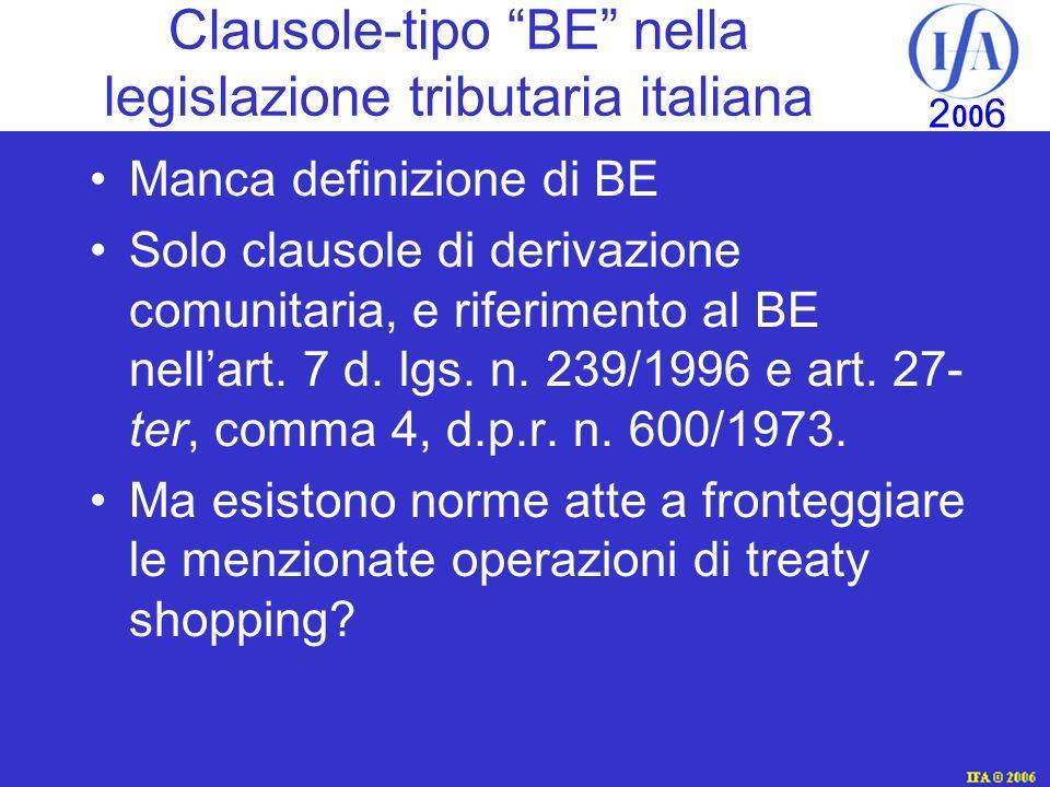 Clausole-tipo BE nella legislazione tributaria italiana