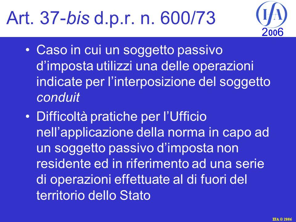 Art. 37-bis d.p.r. n. 600/73