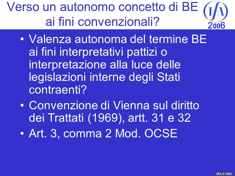 Verso un autonomo concetto di BE ai fini convenzionali