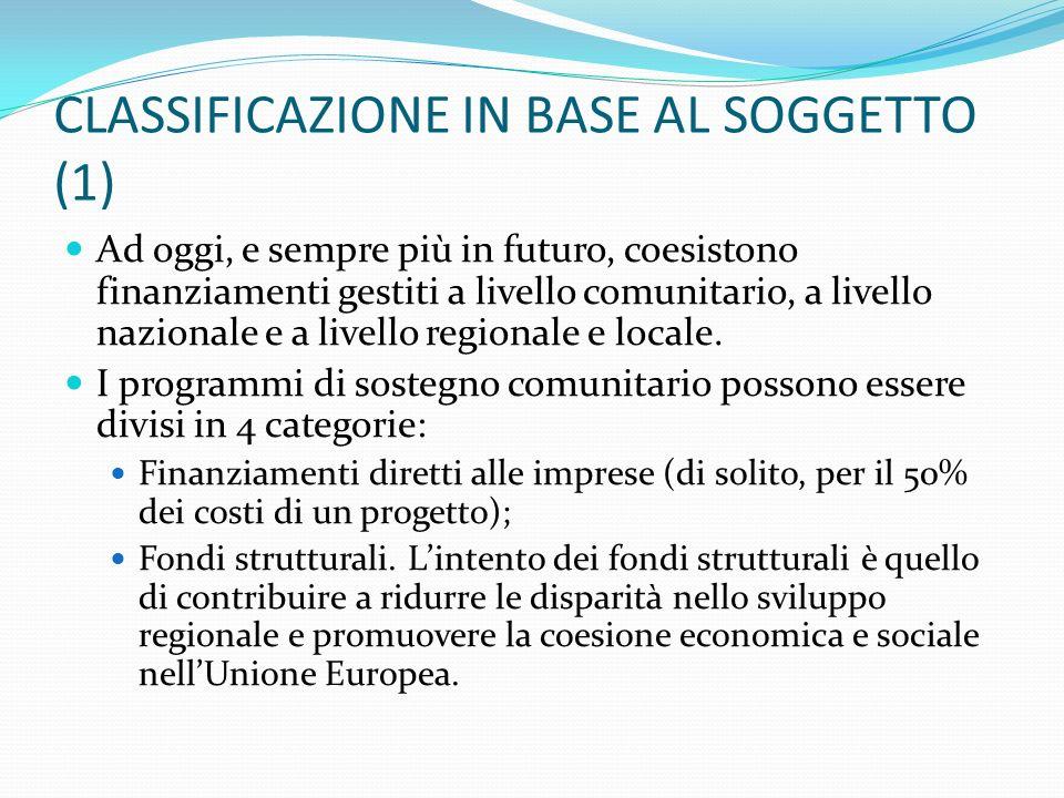CLASSIFICAZIONE IN BASE AL SOGGETTO (1)