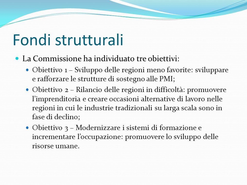 Fondi strutturali La Commissione ha individuato tre obiettivi:
