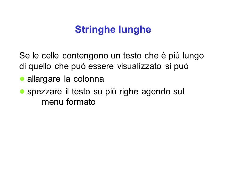Stringhe lunghe Se le celle contengono un testo che è più lungo di quello che può essere visualizzato si può.