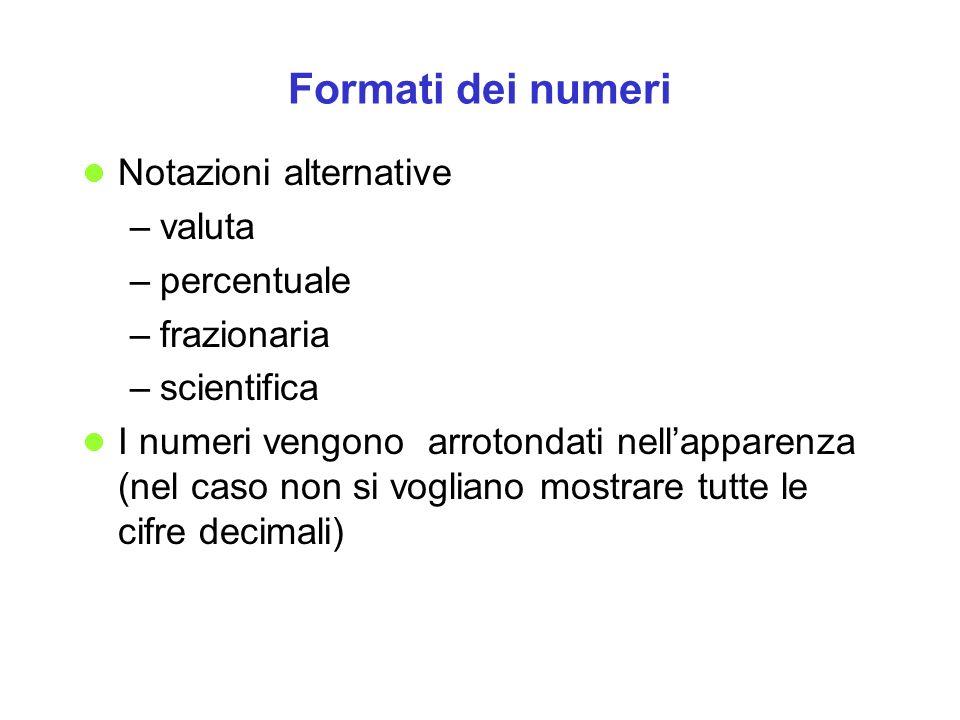 Formati dei numeri Notazioni alternative valuta percentuale