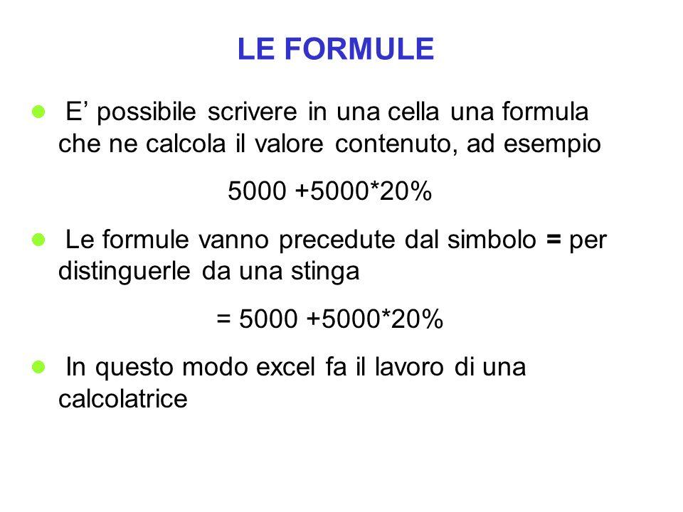 LE FORMULE E' possibile scrivere in una cella una formula che ne calcola il valore contenuto, ad esempio.