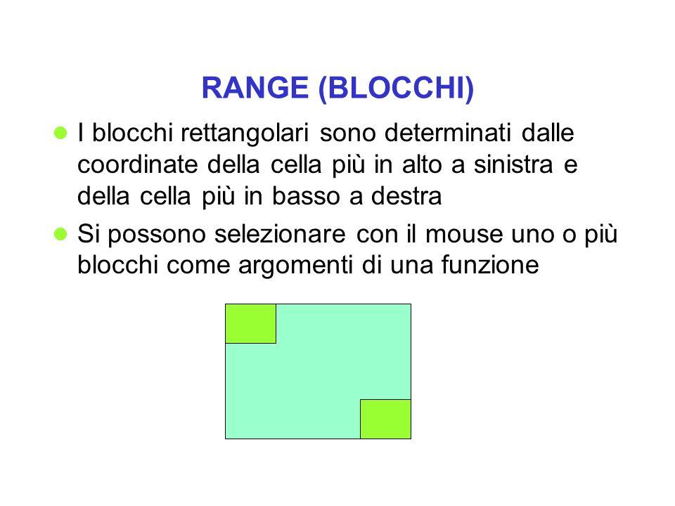 RANGE (BLOCCHI) I blocchi rettangolari sono determinati dalle coordinate della cella più in alto a sinistra e della cella più in basso a destra.