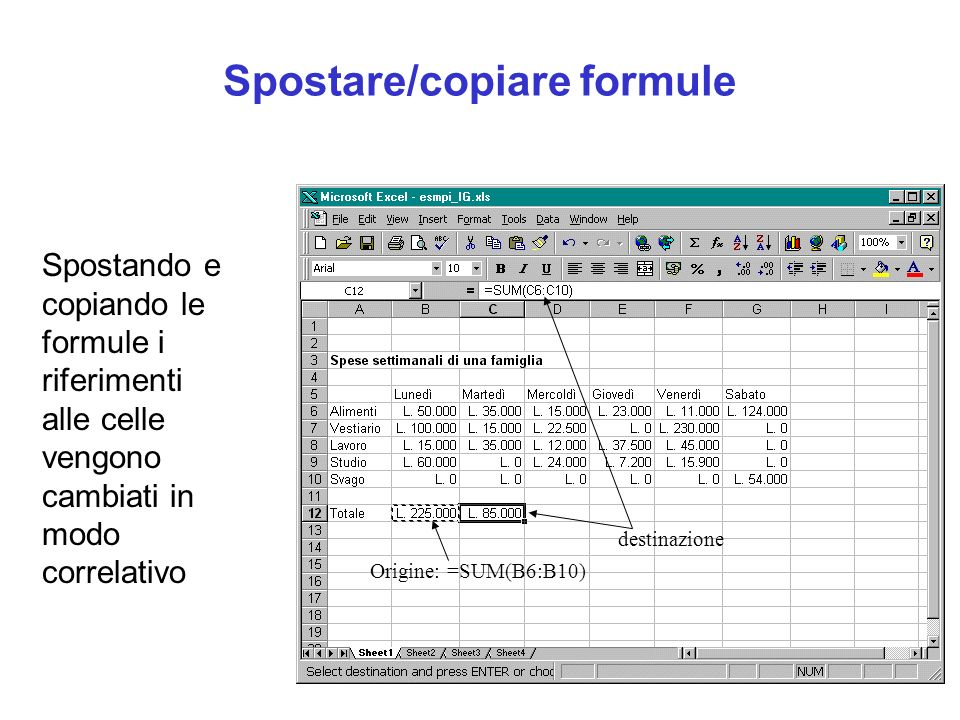 Spostare/copiare formule