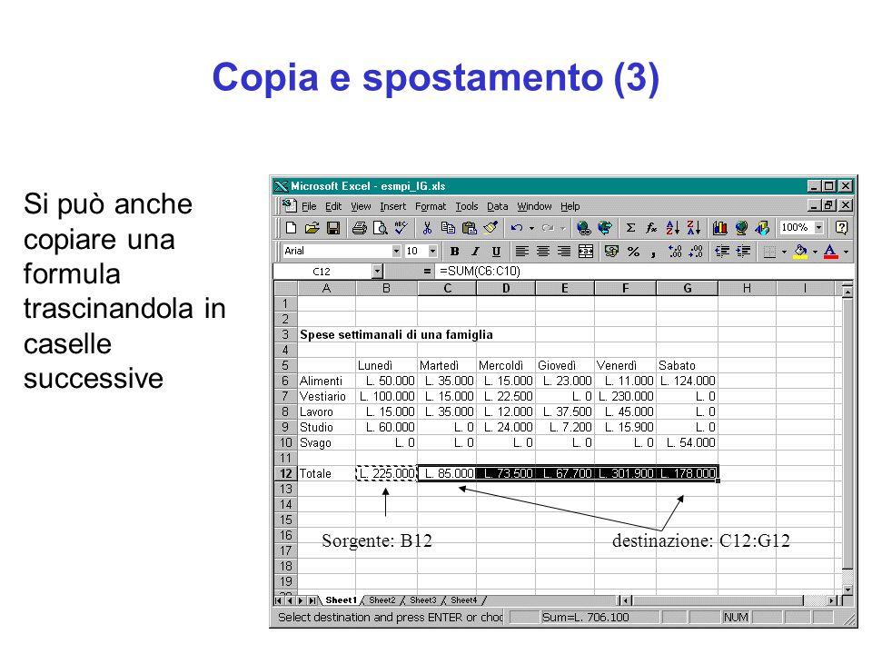 Copia e spostamento (3) Si può anche copiare una formula trascinandola in caselle successive. Sorgente: B12.