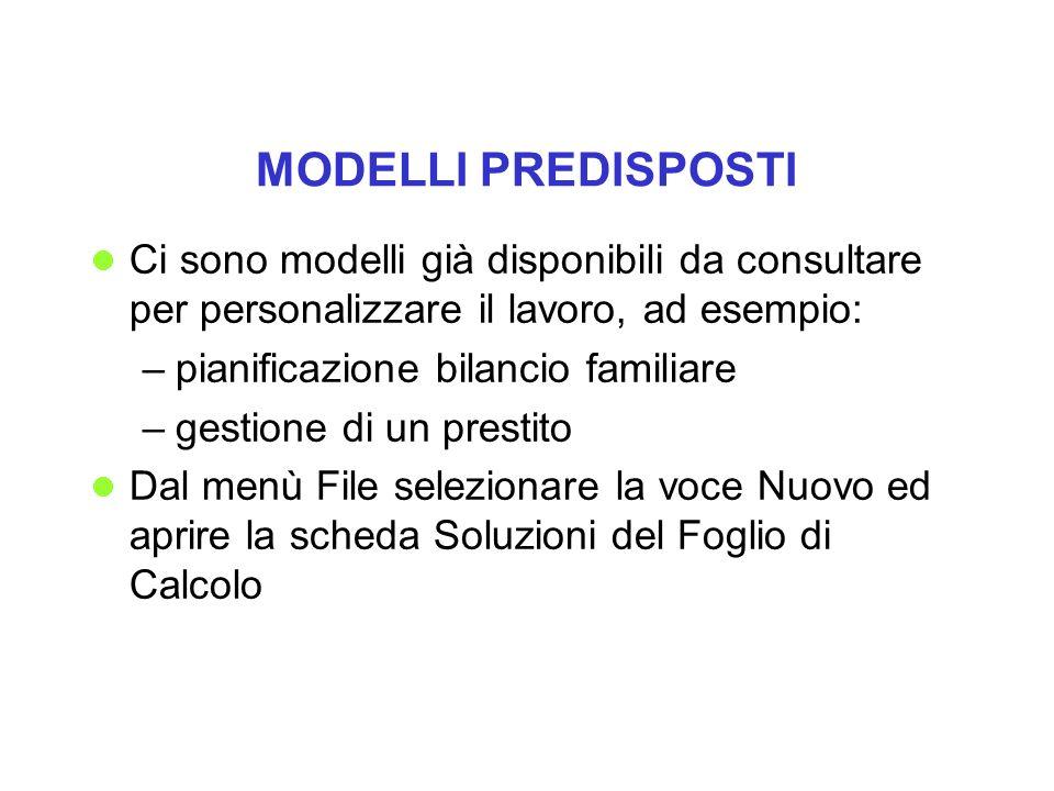 MODELLI PREDISPOSTI Ci sono modelli già disponibili da consultare per personalizzare il lavoro, ad esempio: