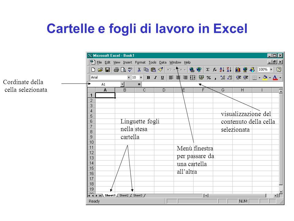 Cartelle e fogli di lavoro in Excel