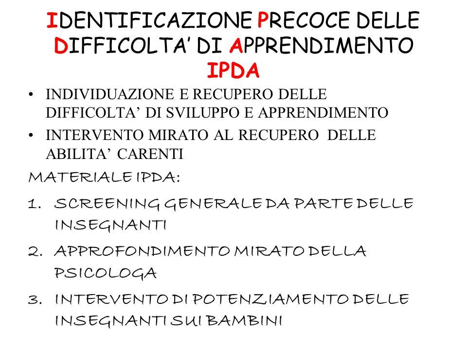 IDENTIFICAZIONE PRECOCE DELLE DIFFICOLTA' DI APPRENDIMENTO IPDA