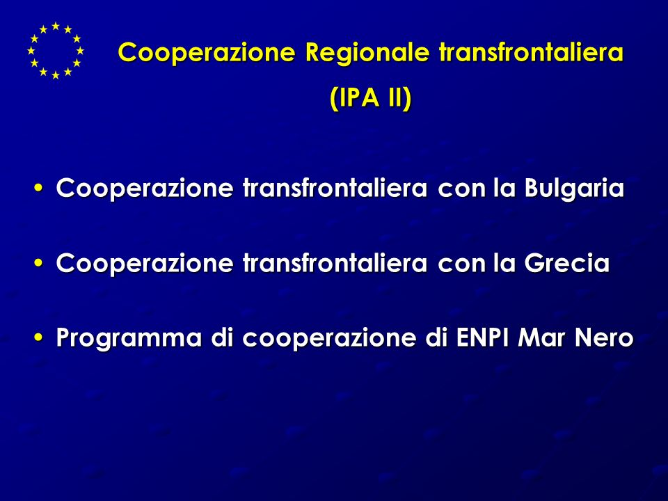 Cooperazione Regionale transfrontaliera (IPA II)
