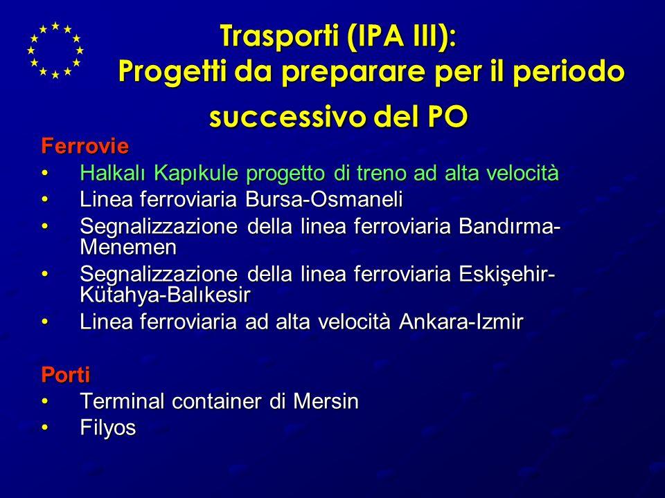 Trasporti (IPA III): Progetti da preparare per il periodo successivo del PO