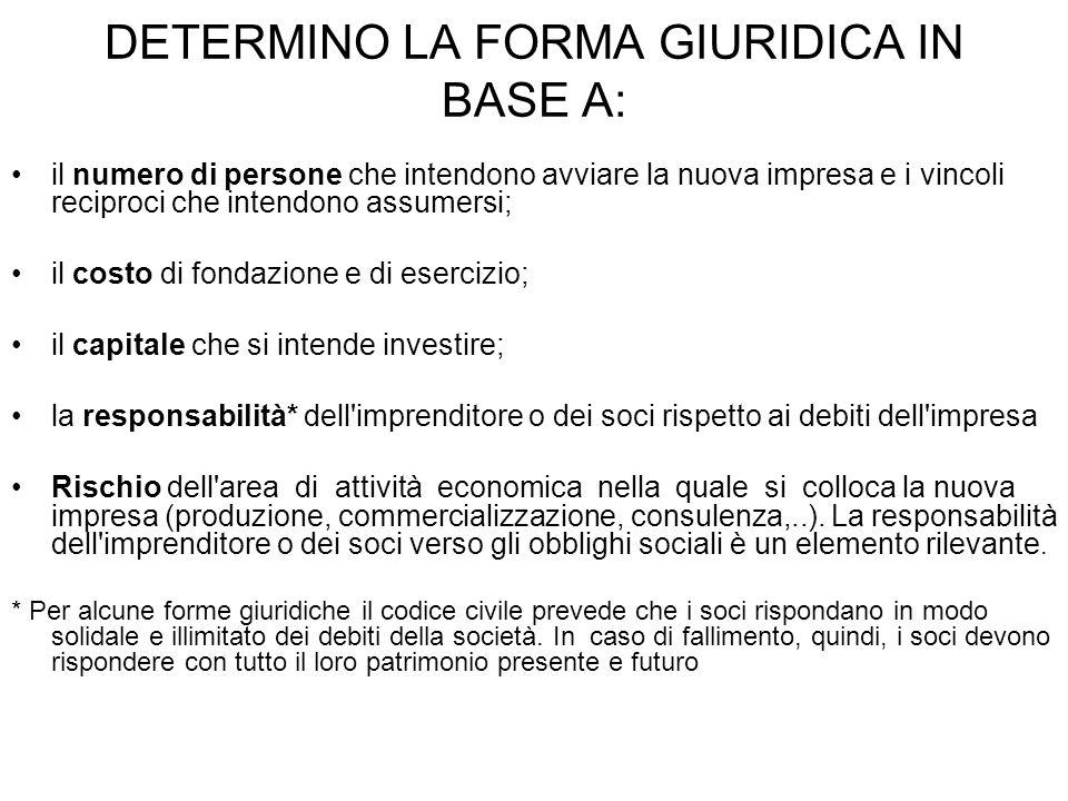 DETERMINO LA FORMA GIURIDICA IN BASE A:
