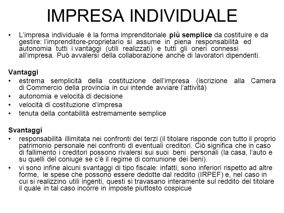 IMPRESA INDIVIDUALE