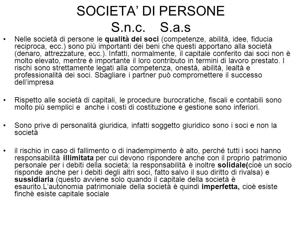 SOCIETA' DI PERSONE S.n.c. S.a.s