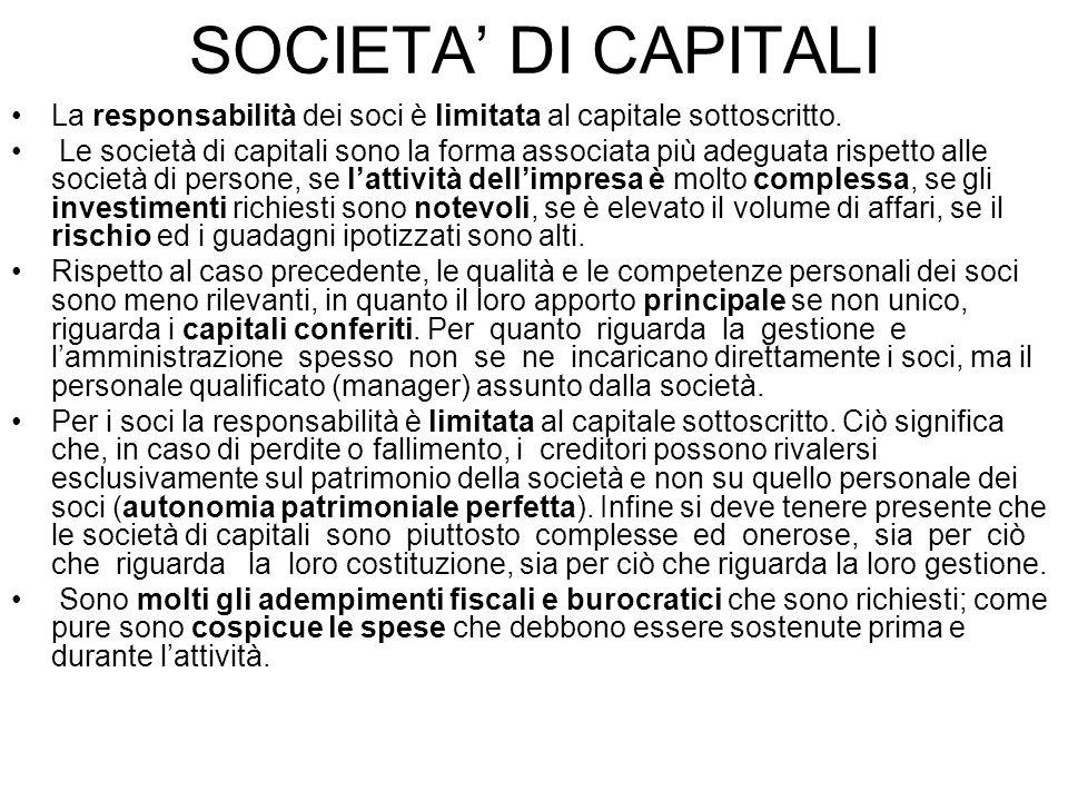 SOCIETA' DI CAPITALI La responsabilità dei soci è limitata al capitale sottoscritto.