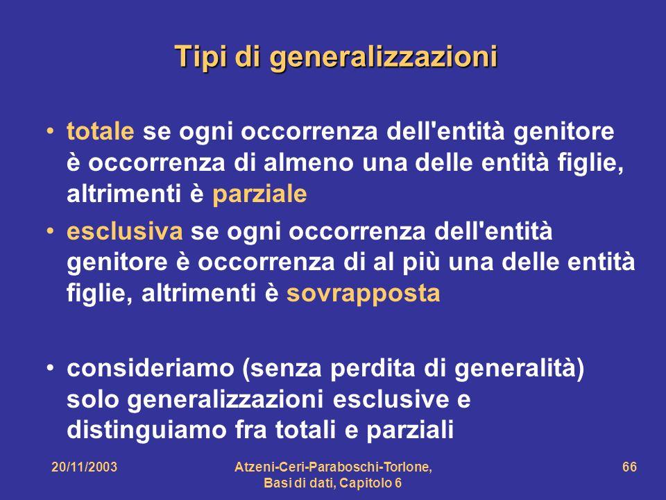 Tipi di generalizzazioni