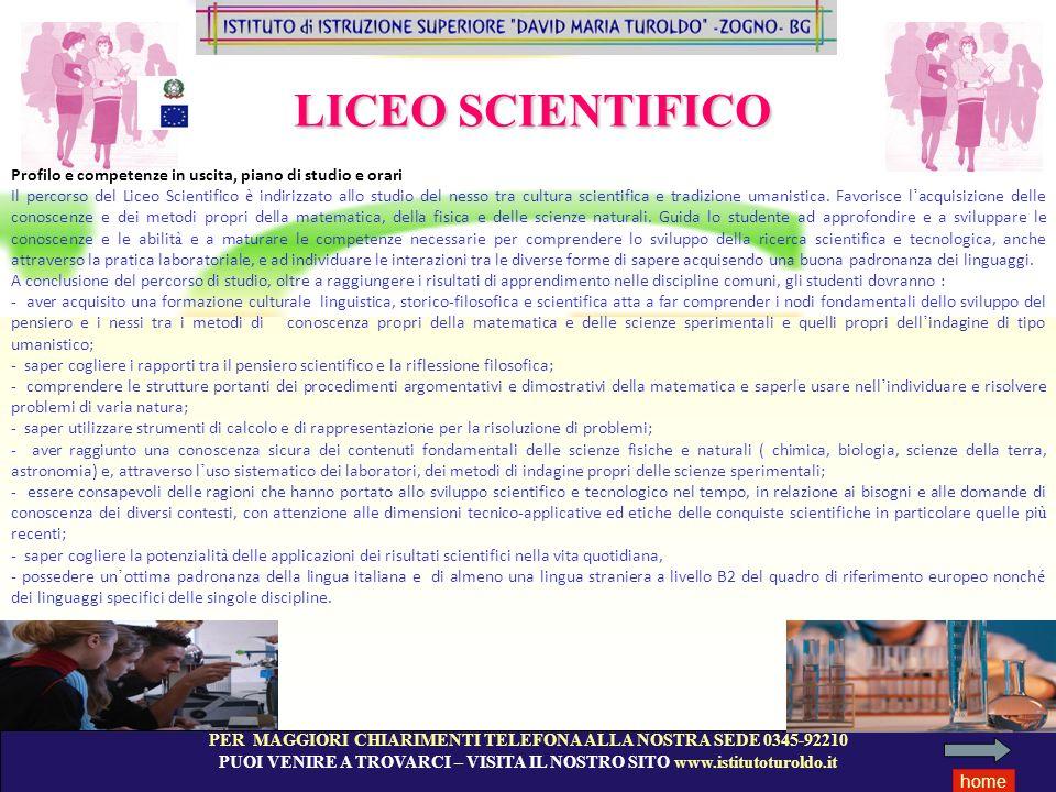 LICEO SCIENTIFICO Profilo e competenze in uscita, piano di studio e orari.
