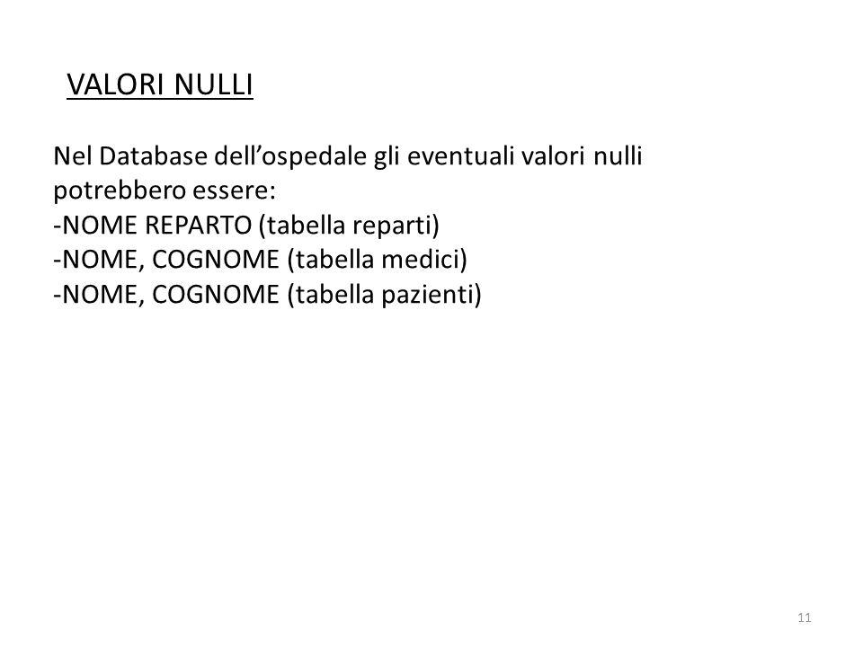 VALORI NULLI Nel Database dell'ospedale gli eventuali valori nulli