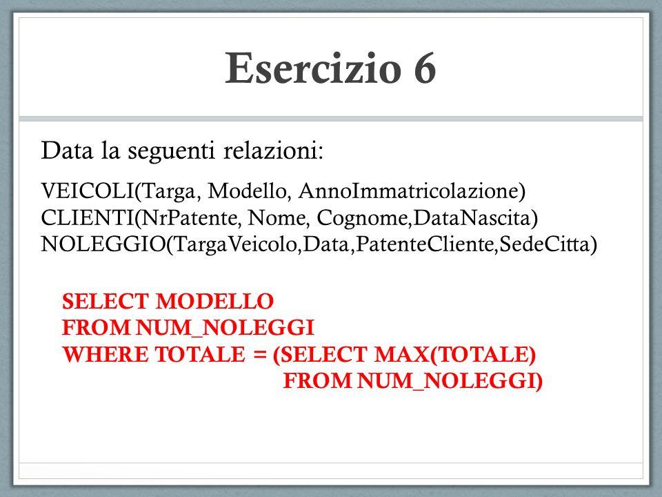 Esercizio 6 Data la seguenti relazioni: