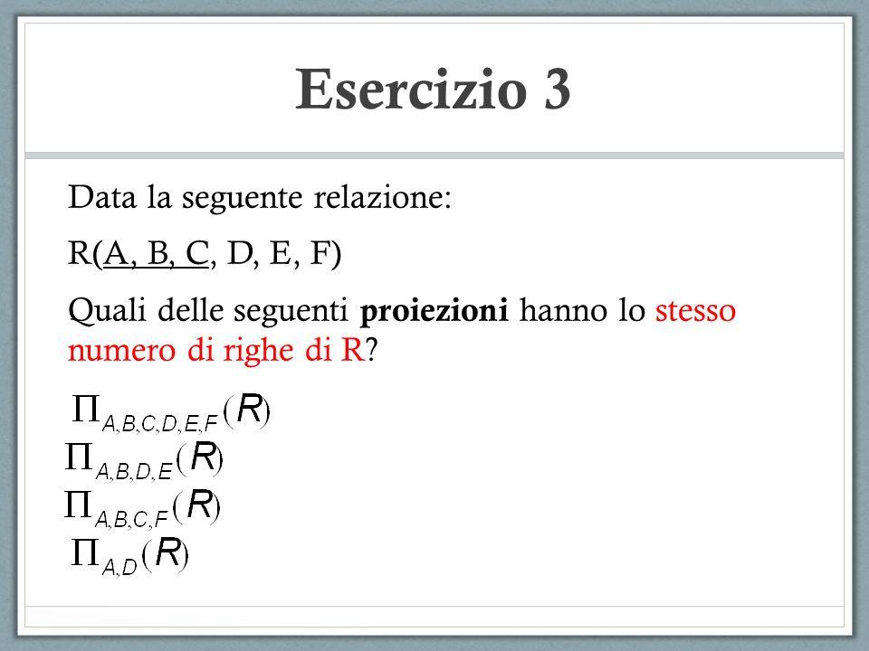 Esercizio 3 Data la seguente relazione: R(A, B, C, D, E, F)