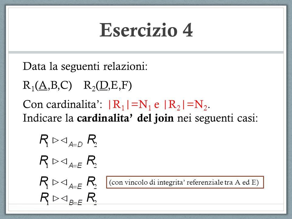 Esercizio 4 Data la seguenti relazioni: R1(A,B,C) R2(D,E,F)