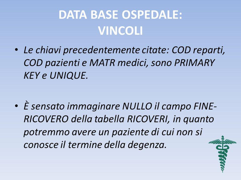DATA BASE OSPEDALE: VINCOLI