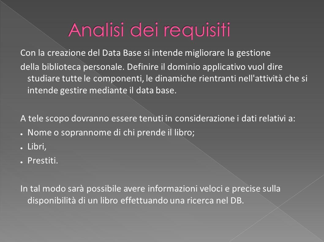Analisi dei requisiti Con la creazione del Data Base si intende migliorare la gestione.