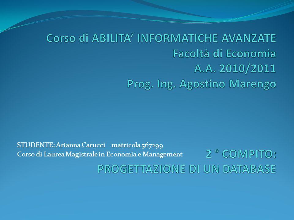 STUDENTE: Arianna Carucci matricola 567299