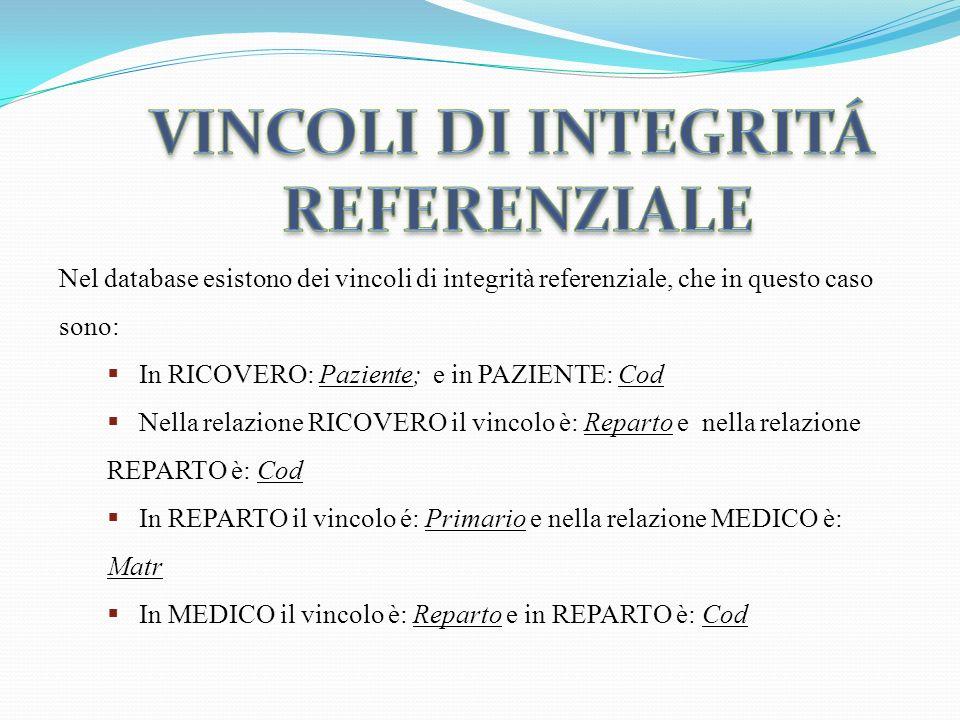 VINCOLI DI INTEGRITÁ REFERENZIALE