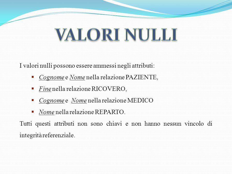 VALORI NULLI I valori nulli possono essere ammessi negli attributi: