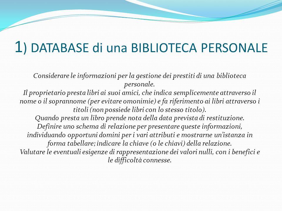 1) DATABASE di una BIBLIOTECA PERSONALE