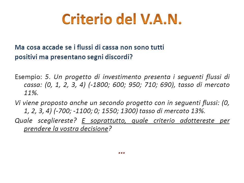 Criterio del V.A.N. Ma cosa accade se i flussi di cassa non sono tutti. positivi ma presentano segni discordi