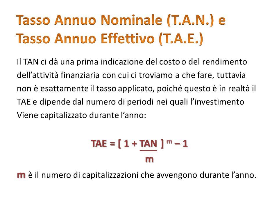 Tasso Annuo Nominale (T.A.N.) e Tasso Annuo Effettivo (T.A.E.)