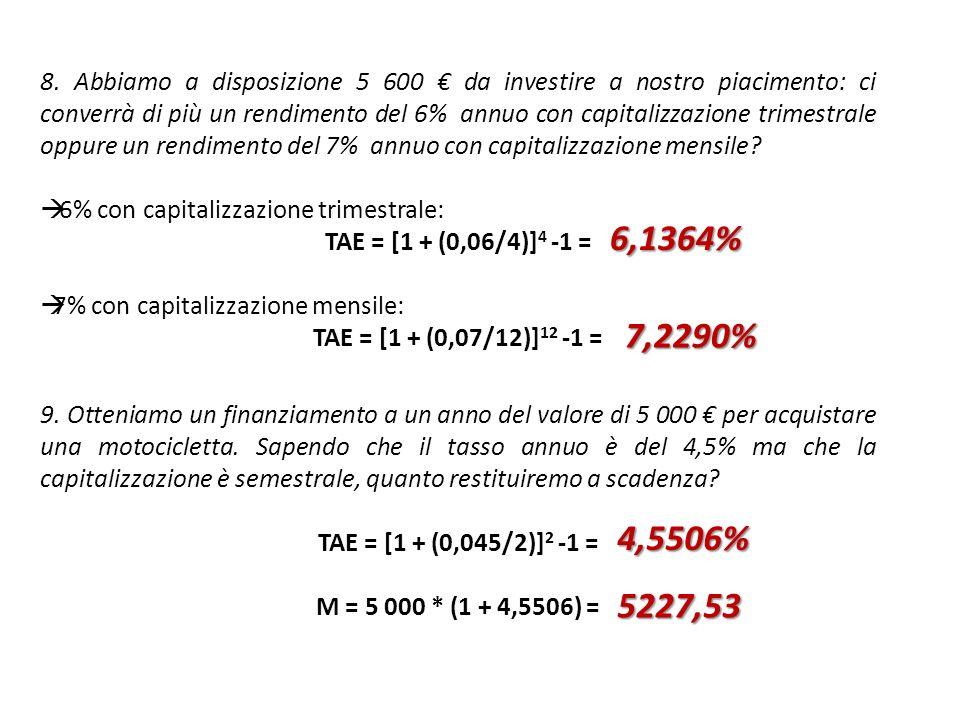 8. Abbiamo a disposizione 5 600 € da investire a nostro piacimento: ci converrà di più un rendimento del 6% annuo con capitalizzazione trimestrale oppure un rendimento del 7% annuo con capitalizzazione mensile