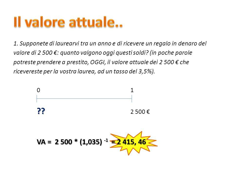 Il valore attuale.. VA = 2 500 * (1,035) -1 = 2 415, 46