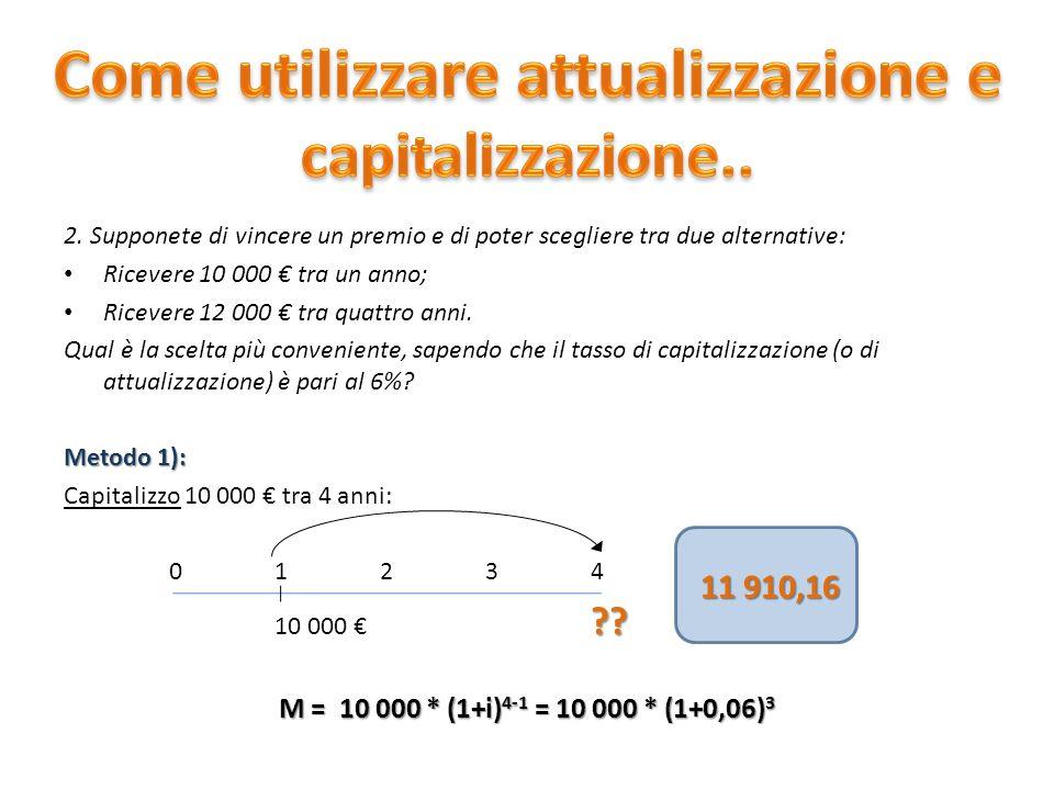 Come utilizzare attualizzazione e capitalizzazione..