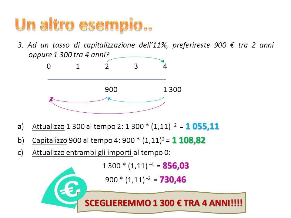 Un altro esempio.. SCEGLIEREMMO 1 300 € TRA 4 ANNI!!!!