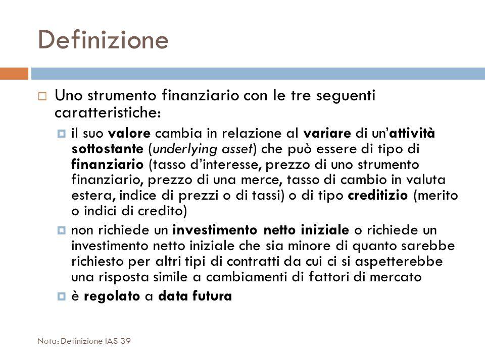 Definizione Uno strumento finanziario con le tre seguenti caratteristiche: