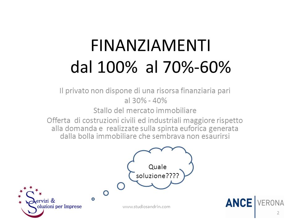 FINANZIAMENTI dal 100% al 70%-60%