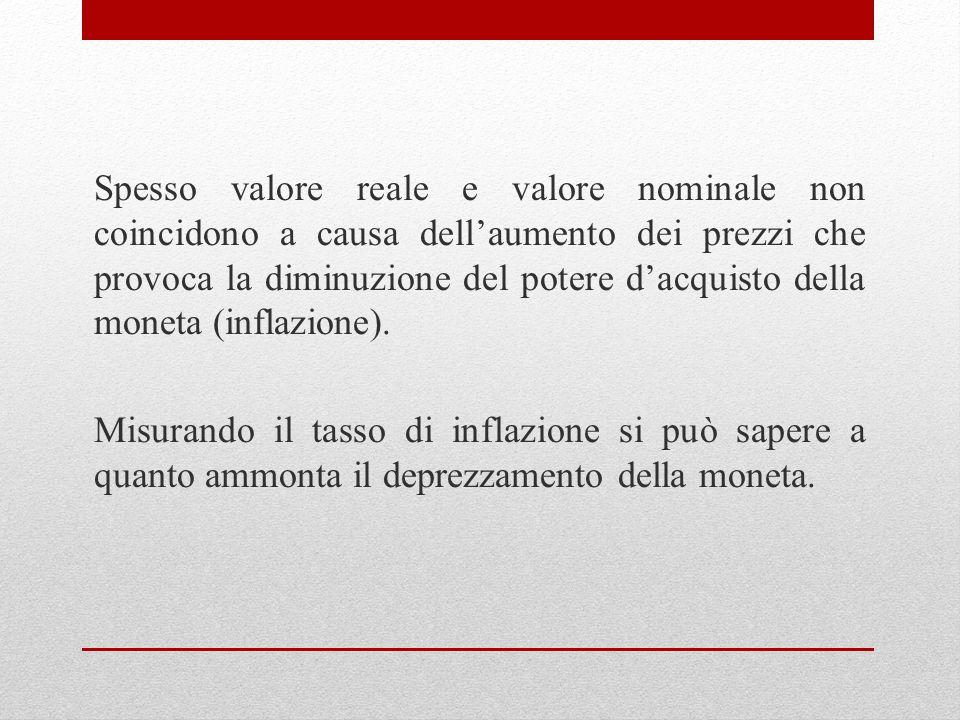 Spesso valore reale e valore nominale non coincidono a causa dell'aumento dei prezzi che provoca la diminuzione del potere d'acquisto della moneta (inflazione).
