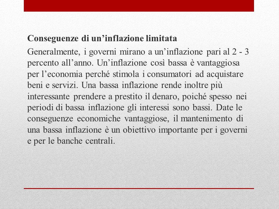 Conseguenze di un'inflazione limitata Generalmente, i governi mirano a un'inflazione pari al 2 - 3 percento all'anno.