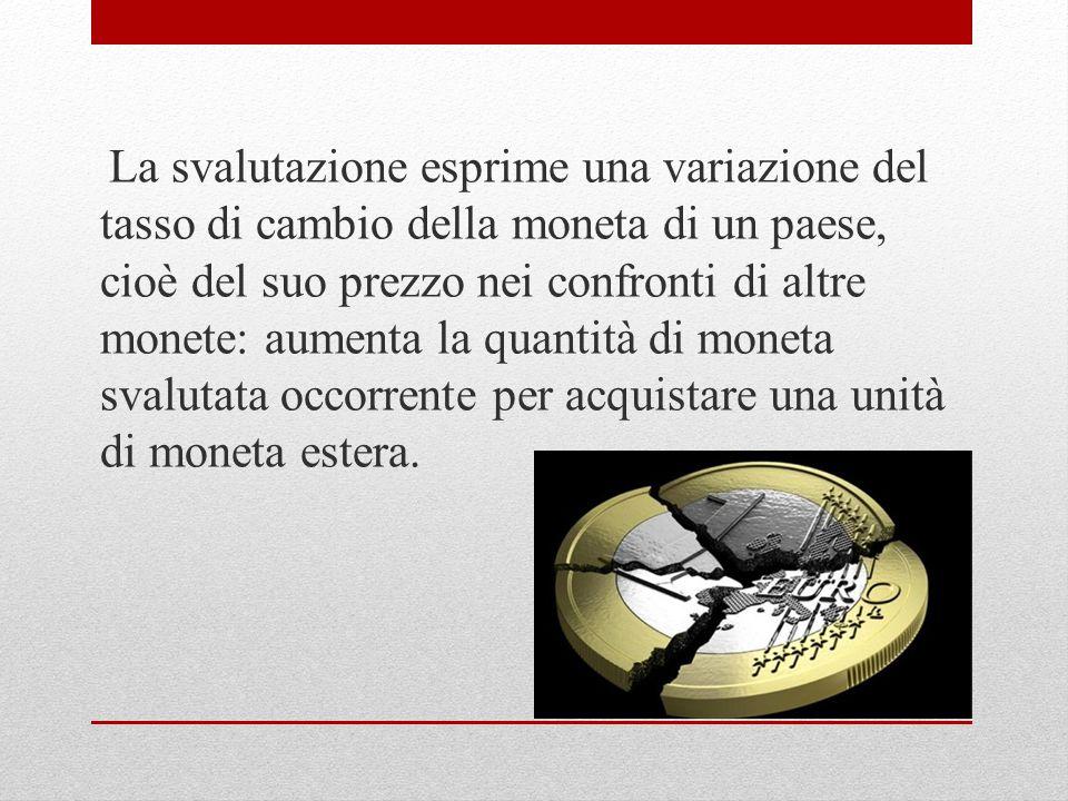 La svalutazione esprime una variazione del tasso di cambio della moneta di un paese, cioè del suo prezzo nei confronti di altre monete: aumenta la quantità di moneta svalutata occorrente per acquistare una unità di moneta estera.