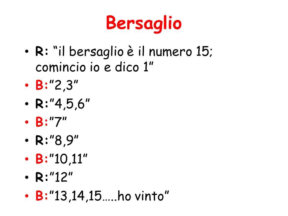 Bersaglio R: il bersaglio è il numero 15; comincio io e dico 1