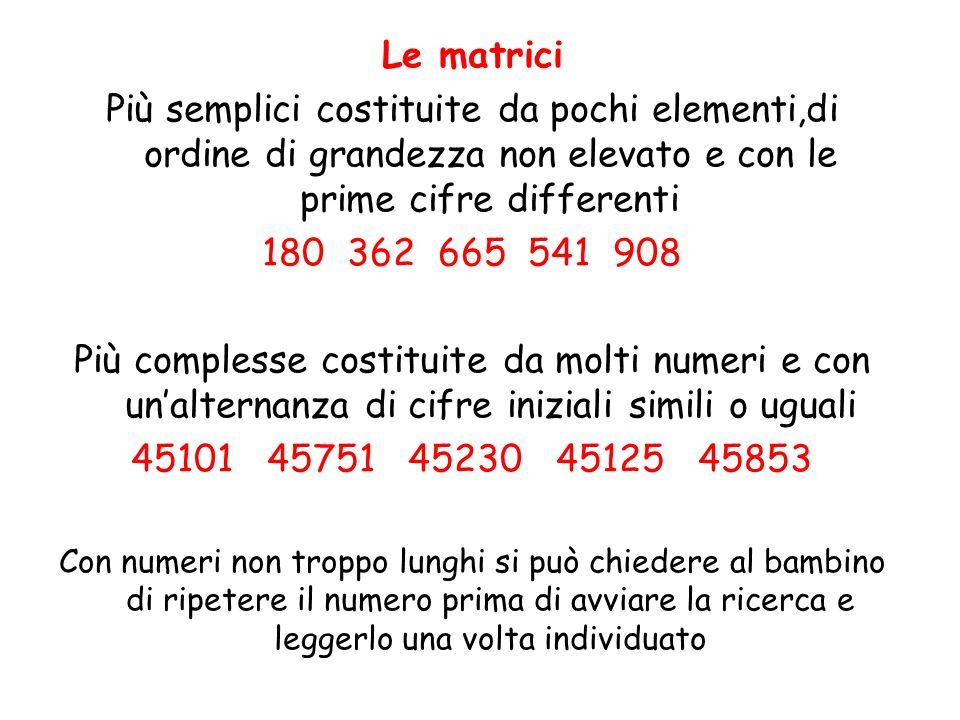 Le matrici Più semplici costituite da pochi elementi,di ordine di grandezza non elevato e con le prime cifre differenti.