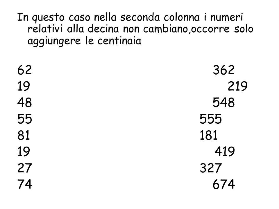 In questo caso nella seconda colonna i numeri relativi alla decina non cambiano,occorre solo aggiungere le centinaia