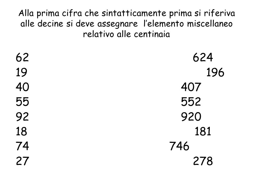 Alla prima cifra che sintatticamente prima si riferiva alle decine si deve assegnare l'elemento miscellaneo relativo alle centinaia