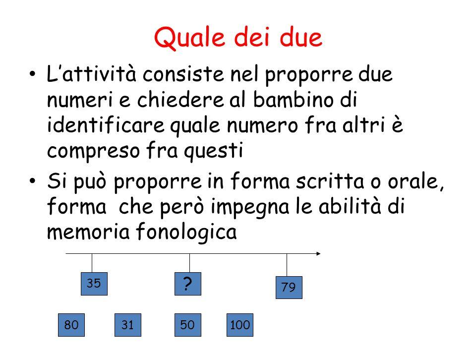 Quale dei due L'attività consiste nel proporre due numeri e chiedere al bambino di identificare quale numero fra altri è compreso fra questi.