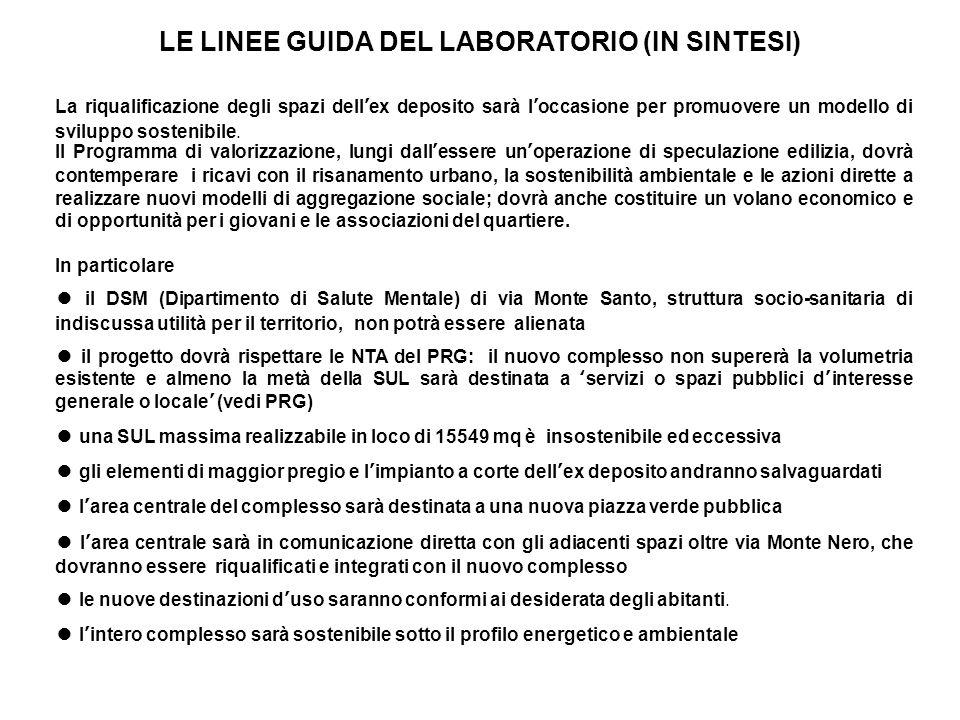 LE LINEE GUIDA DEL LABORATORIO (IN SINTESI)
