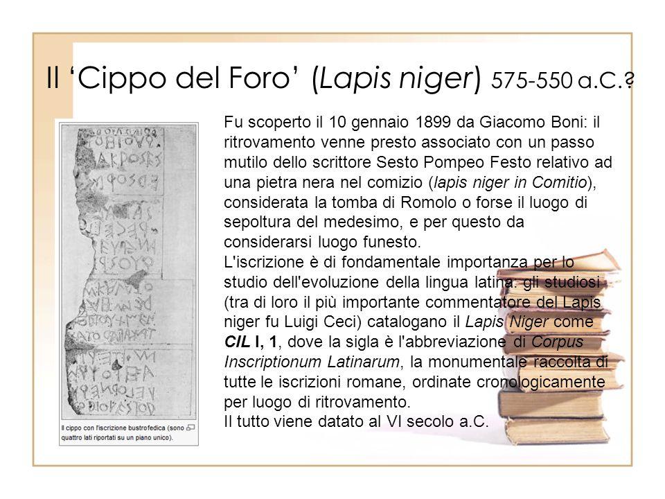 Il 'Cippo del Foro' (Lapis niger) 575-550 a.C.